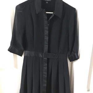 Gorgeous Black Dress w Pleats and Elbow Sleeves